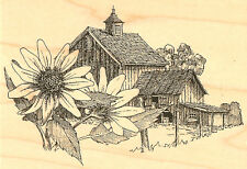 Sunflower Country Barn Farm Wood Mounted Rubber Stamp Impression Obsession H1157