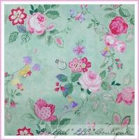 BonEful Fabric FQ Cotton Quilt VTG Green Leaf Pink Flower Rose Princess Dress UK