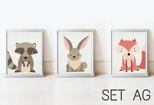 SET New Nursery Home Decor Wall Art Kids Printable Picture Baby Kid Room Animals