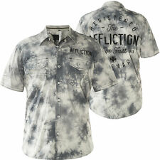AFFLICTION Mens Button Down Shirt FLYWHEEL Embroidered WHITE ICE STORM $78 NWT