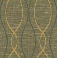 Wallpaper Modern Gold and Black Wave Lines on Faux Woven Background