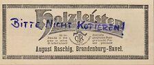 BRANDENBURG, Werbung 1922, August Rasching Holz-Leisten gedrechselt geschnitzt