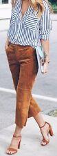 nwt $128 EXPRESS genuine suede flat front 1970's boho dress capri pants 2 xs