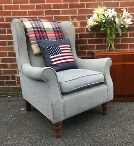 M&S Highland WINGBACK ARMCHAIR Grey Accent Reading Chair RRP £650