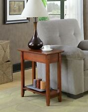 Convenience Mahogany Flip Top Hinged End Table Narrow Silhouette Straight Legs