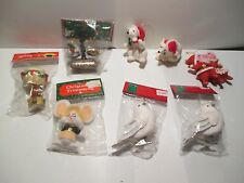 LOT 8 NEW AND VINTAGE CHRISTMAS ORNAMENTS  FLOCKED POLOR BEARS BIRDS SANTA