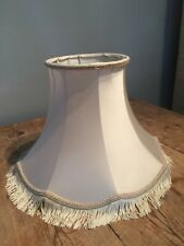 "CLASSIC IVORY SATIN BRAID / FRINGED LAMP SHADE 13 1/2""B  X 6 1/2"" TOP X 9 1/2""T"