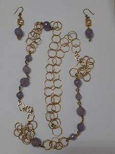 FENDI Authenic Set Gold & Faceted Purple Matching Earrings & Long Necklace
