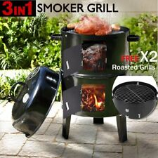Outdoor Charcoal BBQ Roaster Smoker Griller Portable Cooking Grill Meat Flavour^