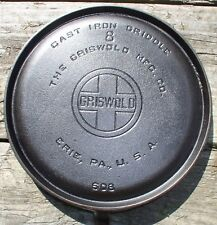 GRISWOLD #8 LARGE BLOCK LOGO #608 Cast Iron GRIDDLE