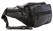 Hochwertige Bauchtasche Leder Schwarz Hüfttasche Gürteltasche Umhängetasche