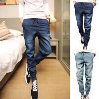 Casual Men  Denim Jogger Pants Drawstring Sweatpants Long  Trouser Jean