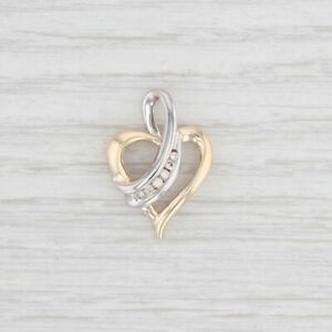 Diamond Heart Pendant 10k Yellow White Gold Drop Open Heart