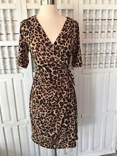 Motherhood women's medium cheetah print stretchy wrap dress, short sleeves, S19