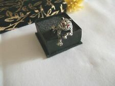 NEW SILVER COSTUME LION HEMATITE STYLE RED EYE  RING O 1/2