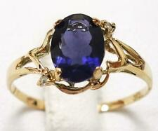 SYJEWELLERY 9CT SOLID YELLOW GOLD NATURAL IOLITE & DIAMOND RING SIZE N R1074