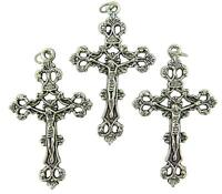 Rosary Part Silver Tone Tone Metal Antique Style Cross Crucifix Pendant,1 3/4-in