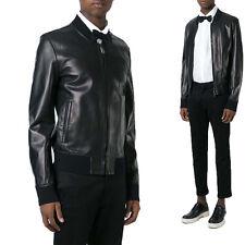 UK Man Men GENUINE Leather Jacket Biker Coat Slim Fit Veste Homme Cuir R97