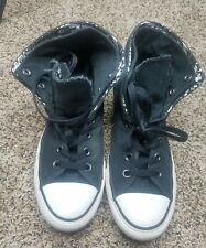 Black/White/Gold Hi Top Converse Double Layer size 6Y