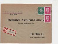 Germany 1930 Registered Berlin Triple Cancel & Stamps Cover ref R 19343