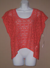 Womens Size Medium Short Sleeve Summer Fashion Orange Lace Blouse Top Shirt