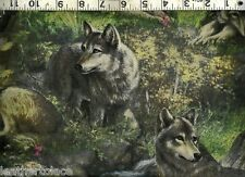 Springs ~ Lazy Afternoon Wolves Wolf Pack ~ 100% Cotton Quilt Sewing Fabric BTY