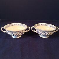 MINTON SHALIMAR  SET 2 CREAM SOUP BOWLS ONLY Blue Floral Bone China ENGLAND 1974