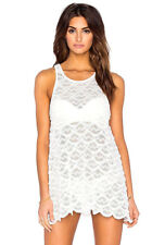 NEW NWT $118 WILDFOX WHITE SIREN SCALLOPED LACE MINI DRESS TUNIC TOP OR COVERUP
