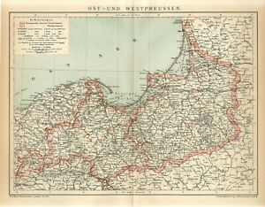1895 GERMANY EAST & WEST PRUSSIA POLAND RUSSIA DANZIG KONIGSBERG Antique Map