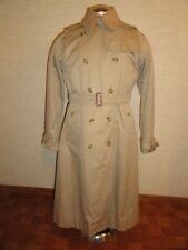 Women's Vintage Beige BURBERRYS Trench Coat w/Wool Liner 14 X-Long Made In USA
