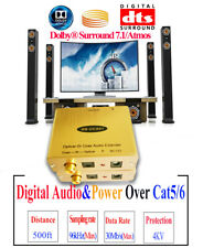 Dolby/DTS/PCM Digital Audio to Cat5/6 Adapter Optical Audio to RJ45 Converter