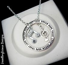 Love Dream Hope Trust Rhinestone Music Notes Pendant Necklace 56cm