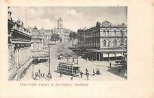 AUCKLAND, NZ, STREET VIEW, TROLLEY, LIBRARY & ART GALLERY, PEOPLE, c. 1902