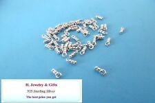 10 pieces  1mm Hole CRIMP END CAPS Sterling Silver 925  Jewelry Making LOTS