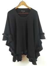 Black Rivet Women's Sweater Poncho Black Faux Fur Trim One Size S M L XL 1X 2X