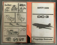 American Airlines DC-3 Flagship Detroit Safety Card (See DESCRIPTION)