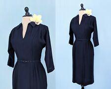 Vintage 1940s Navy Rayon Dress, Vintage 40s Wiggle Dress, 1940s Pencil Dress