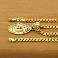 "Mens 18k Gold Plated Mini Oval Guadalupe Pendant 5mm 24"" Cuban Necklace Chain"