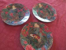 3 Victorian Shabby Cottage Romantic Chic Decoupage Christmas Plates Santa Deer