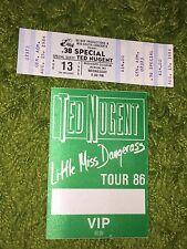 Ted Nugent 1986 Little Miss Dangerous Tour Satin Backstage Pass & unused ticket