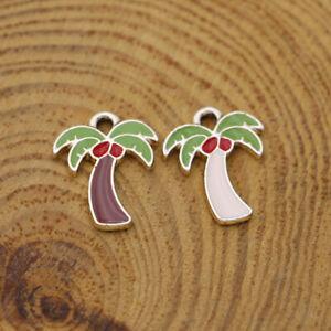 10Pcs Enamel Coconut Tree Charm Pendant Jewelry Making Earrings DIY Accessories