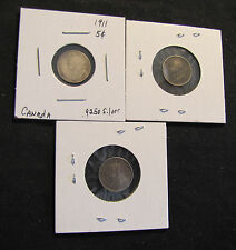 Lot of 3 Canada 5 Cents Silver Coins - 1911, 1913 & 1914