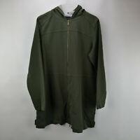 Denim & Co. Regular Comfy Knit Denim Zip Front Jacket True Olive M   A349710