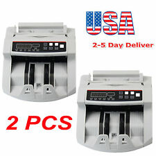 2PCS Bill Money Counter Counting Machine UV/MG Counterfeit Automatic Detector US