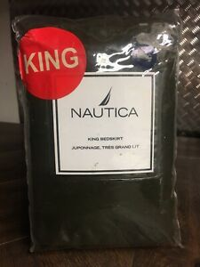 New NAUTICA King Size BREWSTER PLAID Bed Skirt 100% Cotton FOREST GREEN