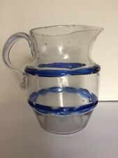 Antique CHAIN DECORATED BLOWN GLASS PITCHER with Applied Handle and 2 Blue Bands