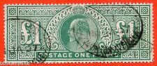 """SG. 266. M55. £1.00 dull blue - green. A very fine """" January 26th """" used."""
