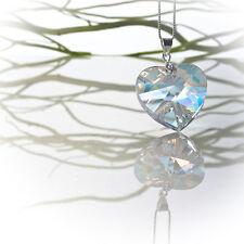 Halskette Damen 925 Silber mit 28mm SWAROVSKI ELEMENTS Herz Farbe Crystal AB
