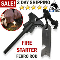 Fire Starter Magnesium Flint Stone Lighter Emergency Survival Gear Firesteel US