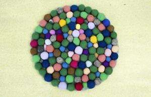 40 CM Felted Chairpad - Handmade Round Chair Pad - Pom Pom Sitting Mat